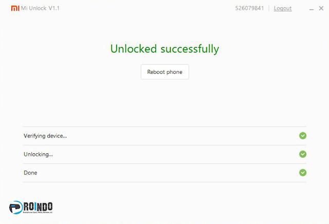 proses unlock bootloader berhasil