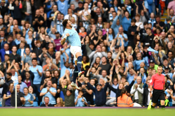 Kyle Walker of Manchester City celebrates after scoring his team's second goal during the Premier League match between Manchester City and Newcastle United at Etihad Stadium on September 1, 2018 in Manchester, United Kingdom. (Aug. 31, 2018 - Source: Clive Mason/Getty Images Europe)