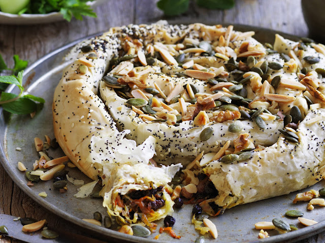 Seeded carrot and cabbage filo pie