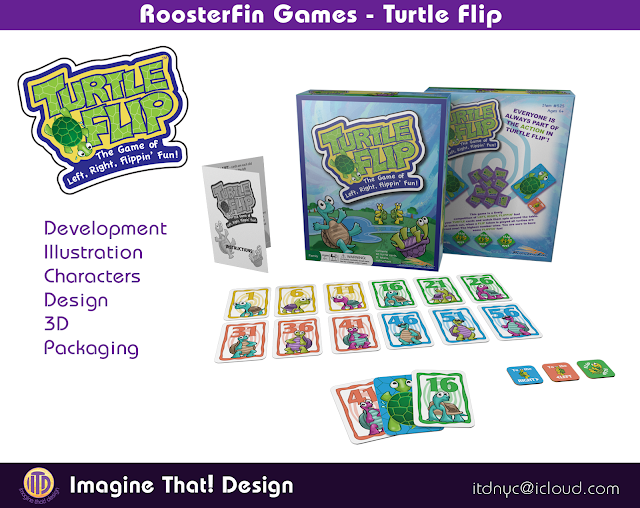 Turtle Flip game illustration designed and illustrated by Traci Van Wagoner and Kurt Keller at Imagine That! Design