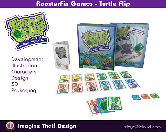 Turtle Flip game illustration designed and illustrated by Traci Van Wagoner and Kurt Keller at Imagine That! Design