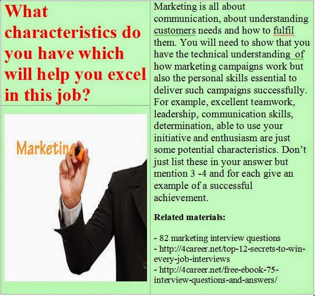 Marketing interview questions: What characteristics do you ...
