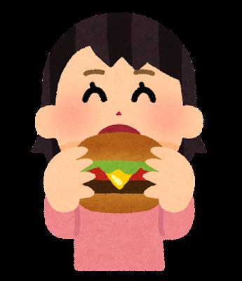 ハンバーガーを食べる人のイラスト(女性)