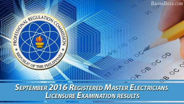 Registered Master Electricians September 2016 Board Exam Results