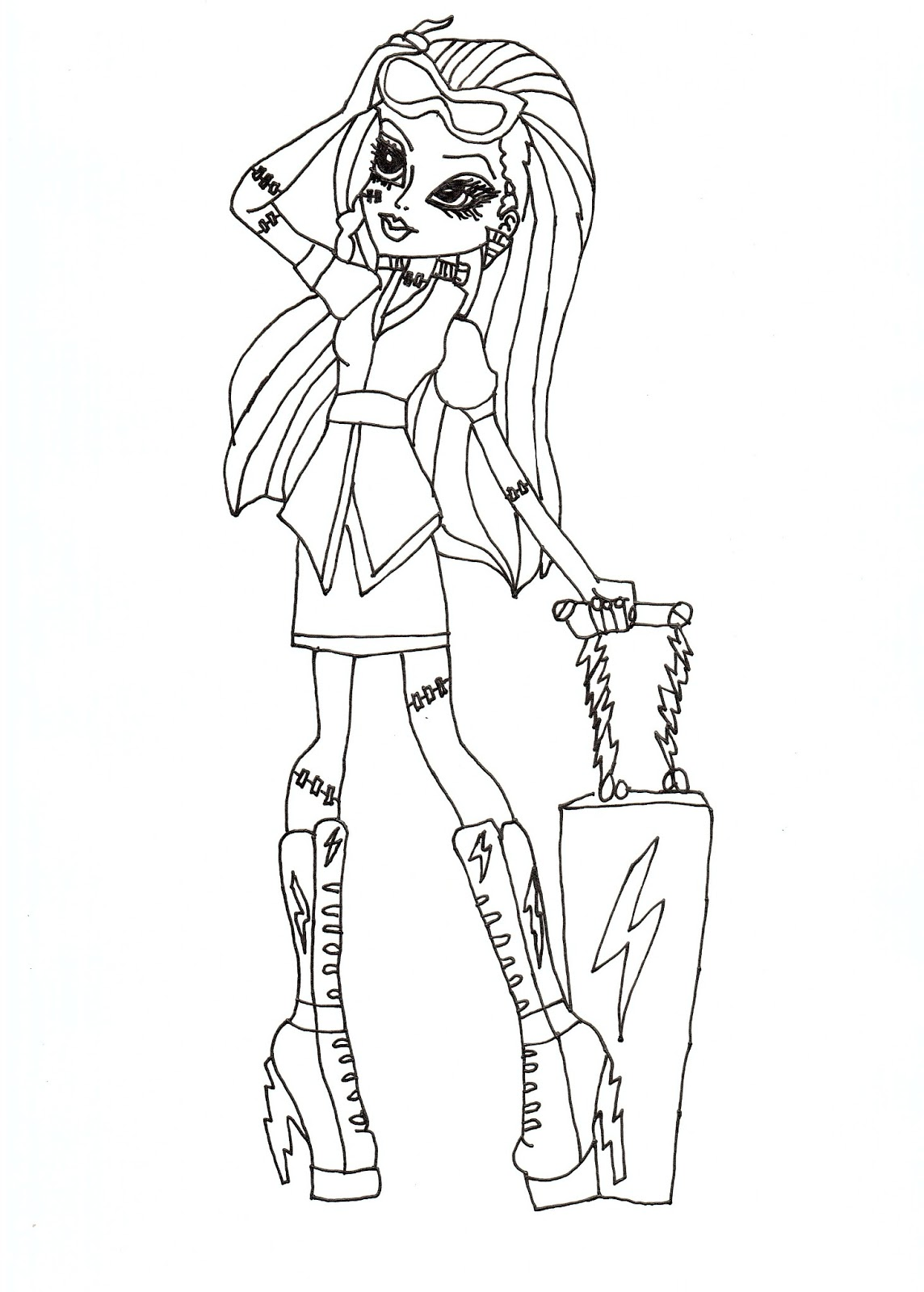 Free printable monster high coloring pages frankie stein for Monster high free coloring pages