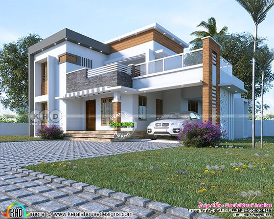 Front view rendering of flat roof contemporary residence