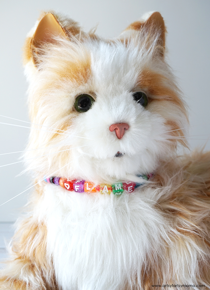 Kids will love making their stuffed animal pets a custom collar in a few easy steps!