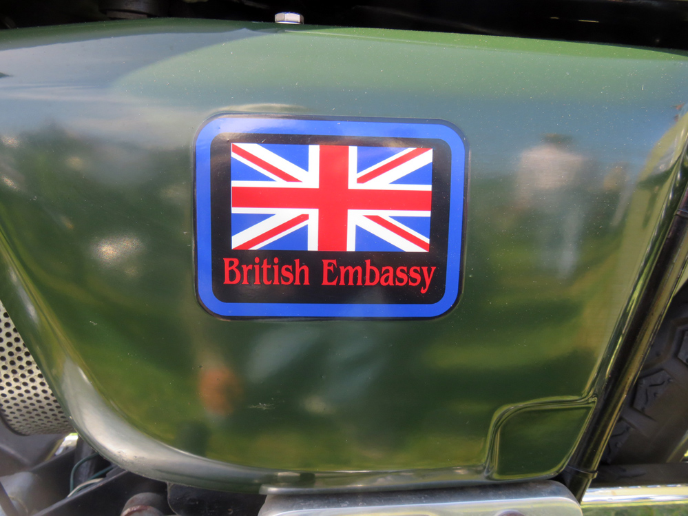 British Embassy sticker.