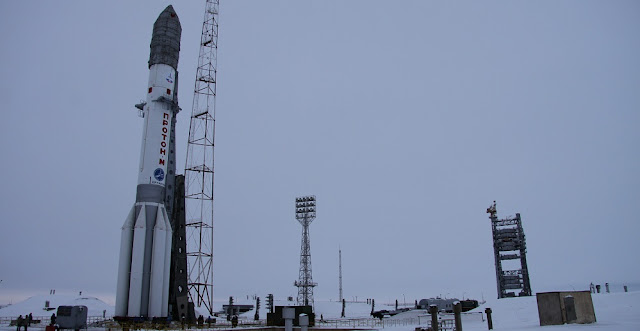 Proton-M rocket on the launch pad days before the liftoff. Photo Credit: Russian Ministry of Defense