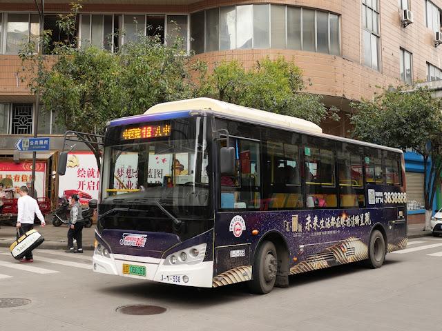 full-sized Jumbo Wuzhou Bus with advertising