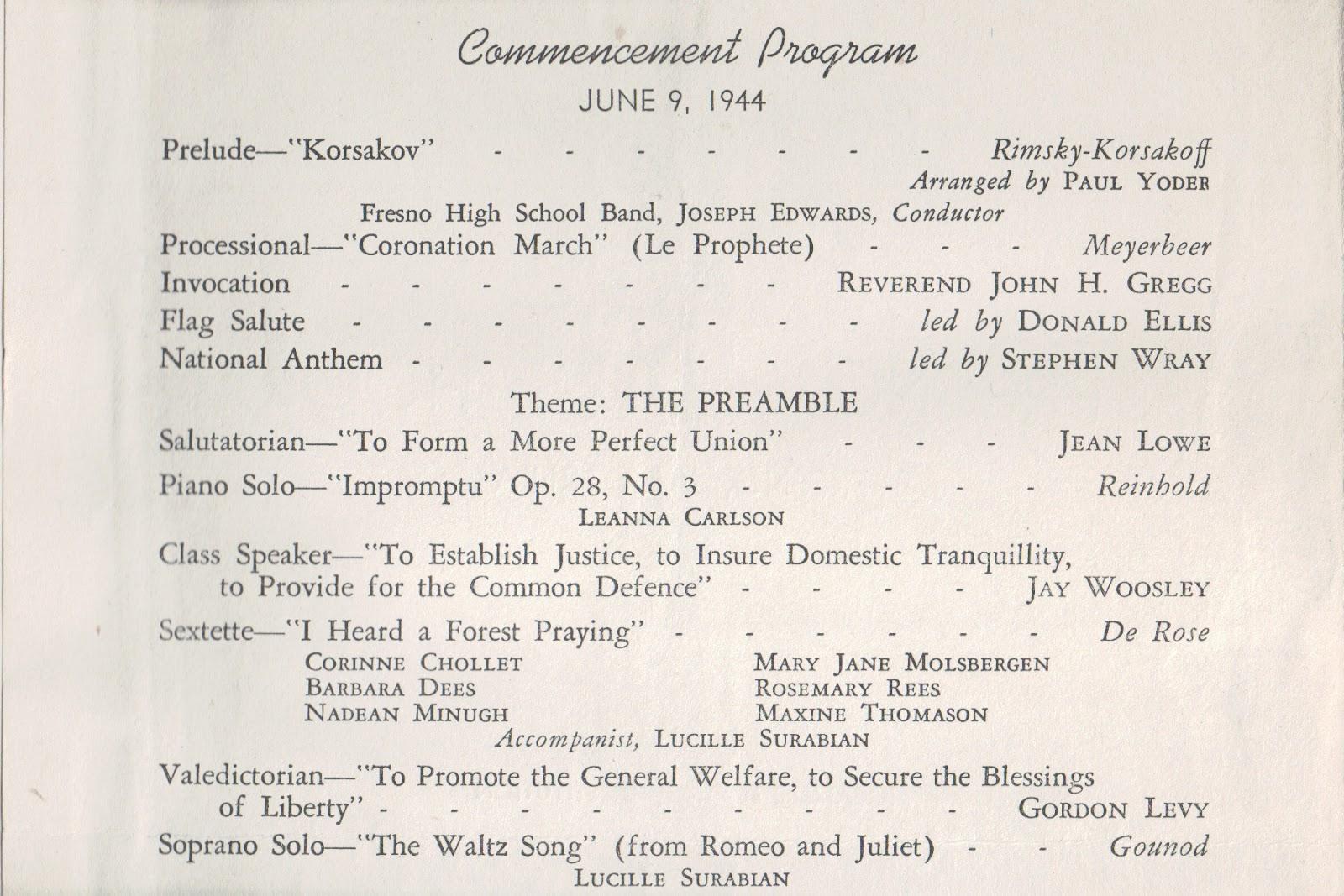 High School Graduation Program Samples