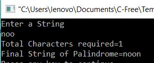 Number of Characters need to make a String Palindrome