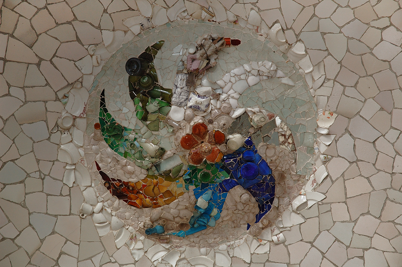 Ceiling Mosaic Inside The Chamber of the 100 Columns, Park Guell, Barcelona Spain