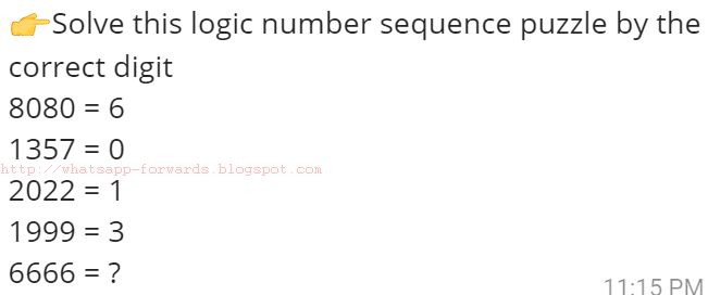 Solve this logic number sequence puzzle 6666 = ?