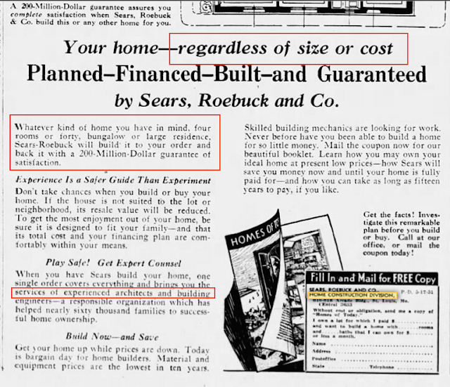 Sears home construction division ad