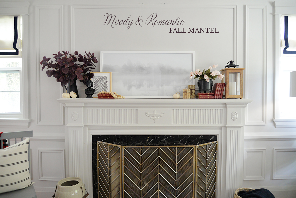 fireplace decor, fireplace mantel ideas, fall decorating ideas, red eucalyptus branch