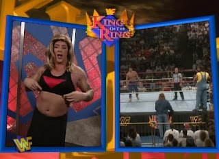 WWF / WWE - King of the Ring 96 - Split Screen interview with Body Donnas manager Kloudi