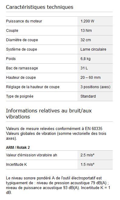 Caractéristiques techniques Bosch ARM 32