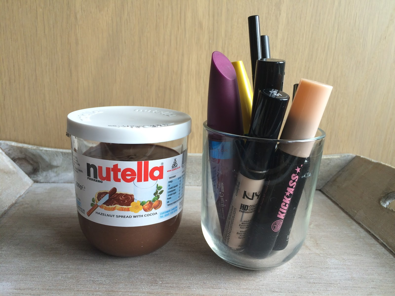 nutella glass makeup storage alternative