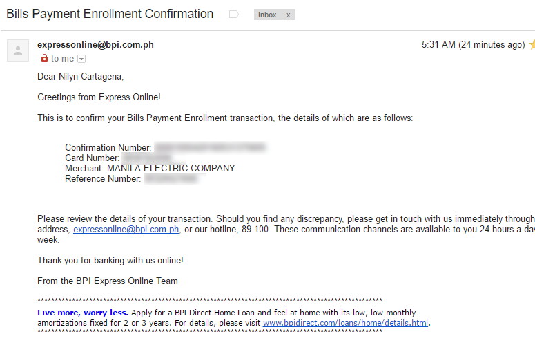 Paying your MERALCO Bill via BPI Express Online - Above