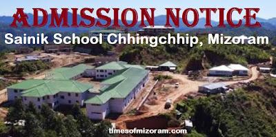 Admission Notice Mizoram Sainik School Chhingchhip 2018