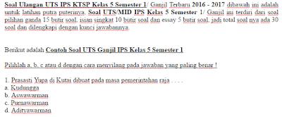 Soal Ulangan UTS IPS KTSP Kelas 5 Semester 1/ Ganjil Terbaru 2016 - 2017
