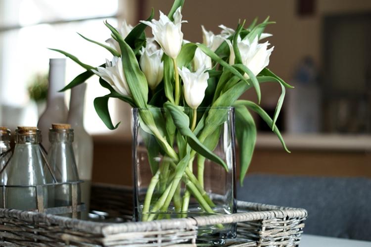 Spitze weiße Tulpen in einer eckigen Glasvase  { by it's me! }