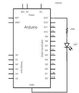 Skema rangkaian Arduino dan LED