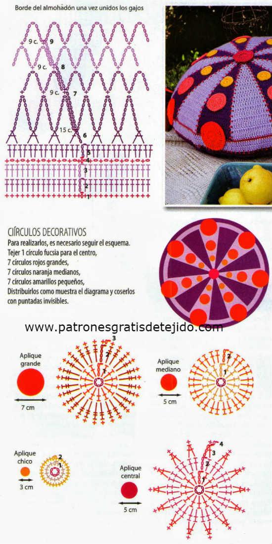 Cojín * Almohadón redondo a crochet / PAP | Crochet y Dos agujas ...