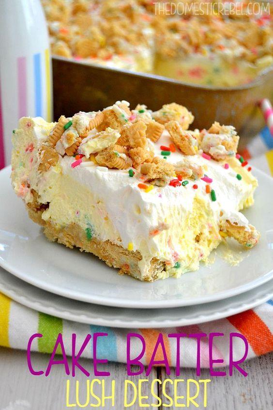 Cake Batter Lush Dessert #cake #batter #lush #dessert #dessertrecipes #easydessertrecipes #cakerecipes