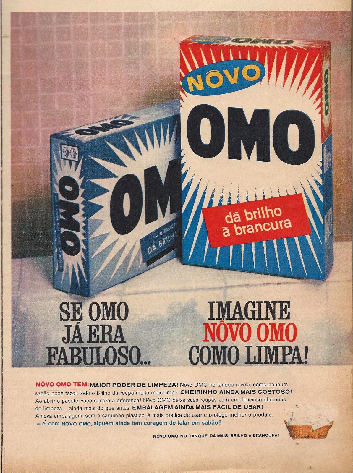 Propaganda antiga do Sabão OMO que apresentava sua nova embalagem nos anos 60