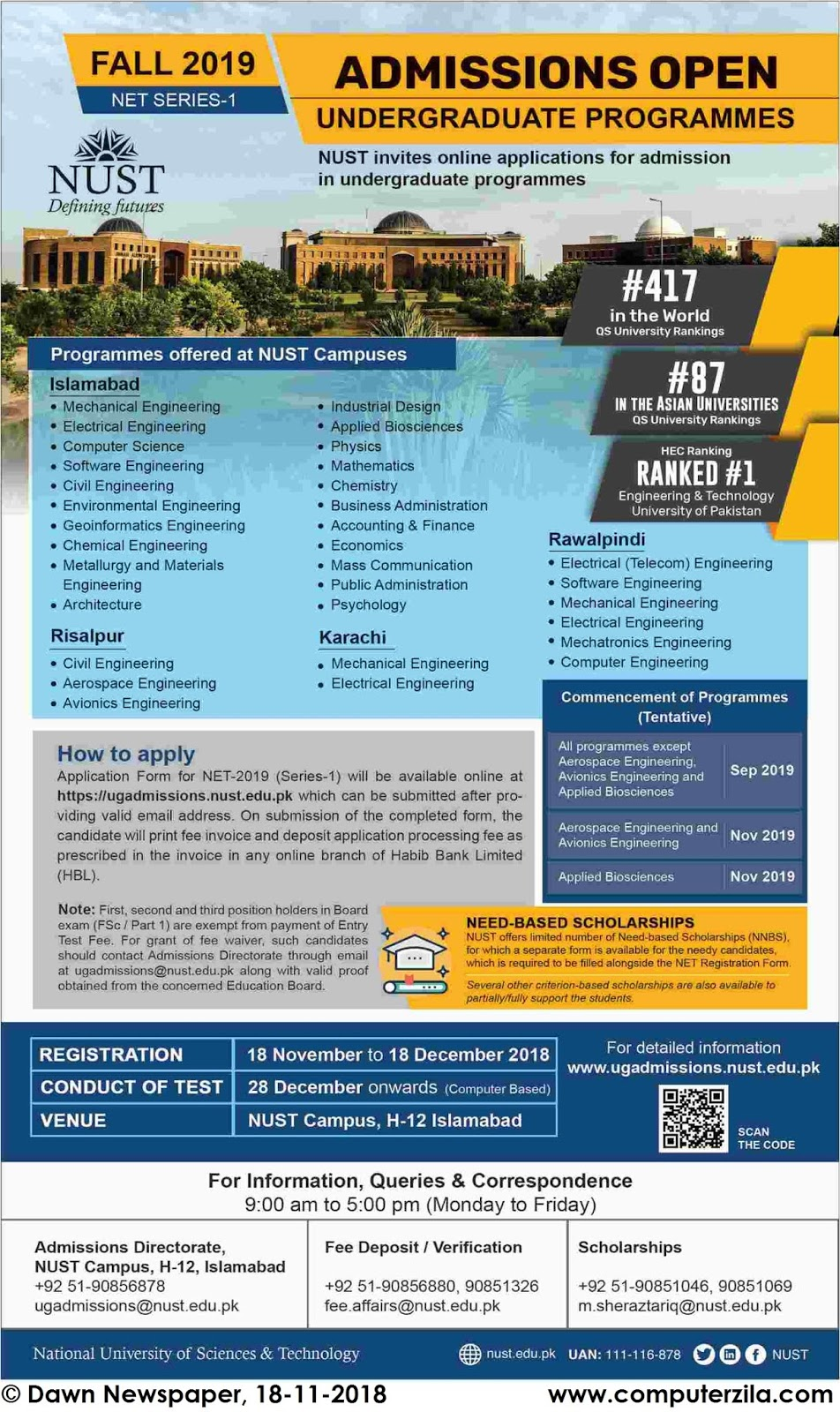 Admissions Open For Fall 2019 At NUST undefined Campus