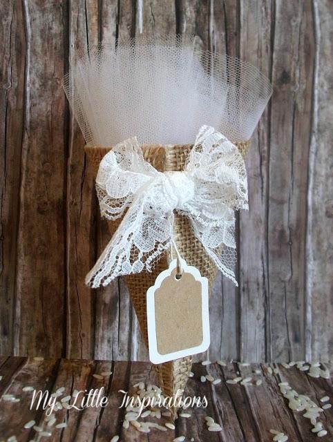 Inviti Handmade per Matrimonio Rustico Romantico - Cono portariso coordinato - MLI