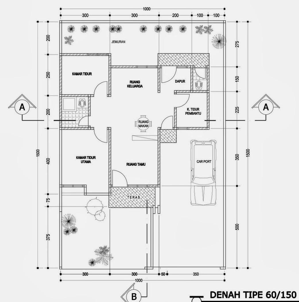 gambar denah rumah tipe 150 3