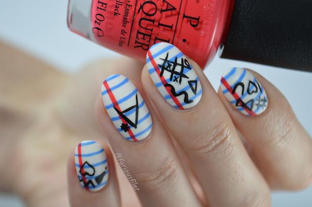 notebook lines stripes horizontal doodles matte nails scribbles