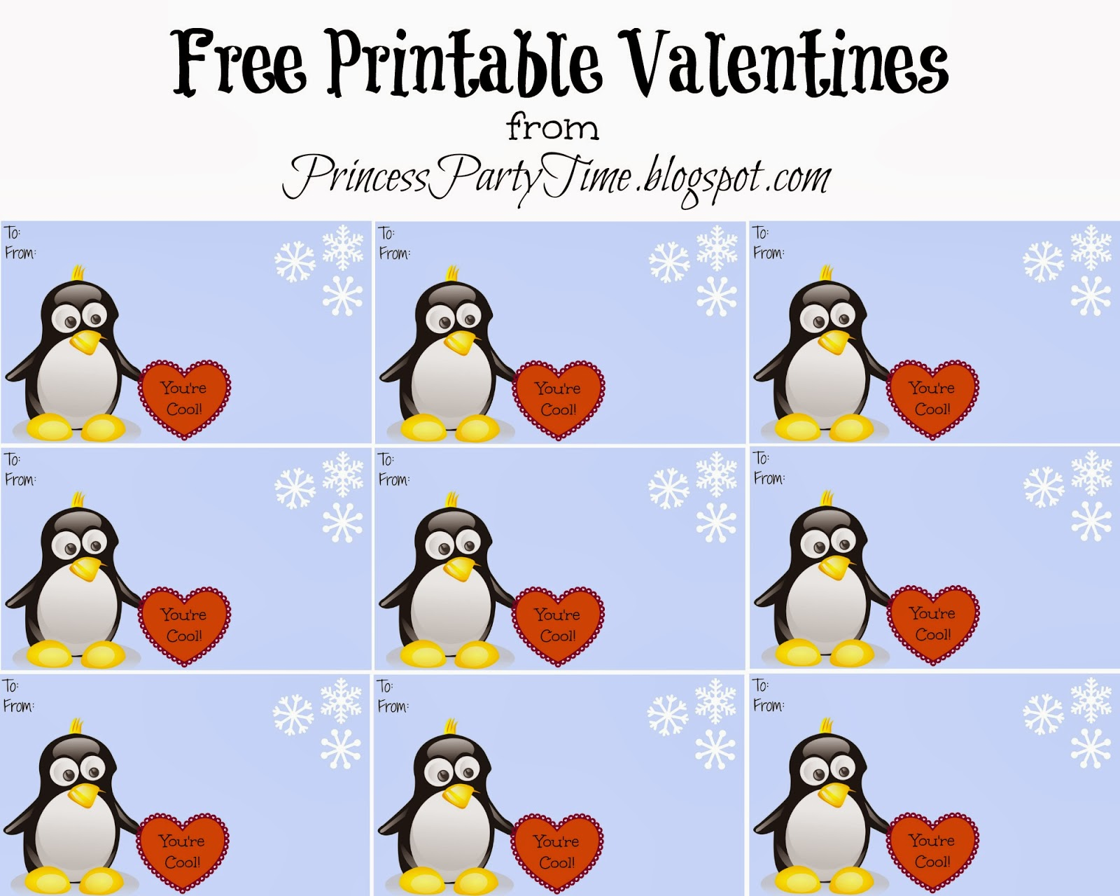 It S A Princess Thing Free Printable Penguin Valentines