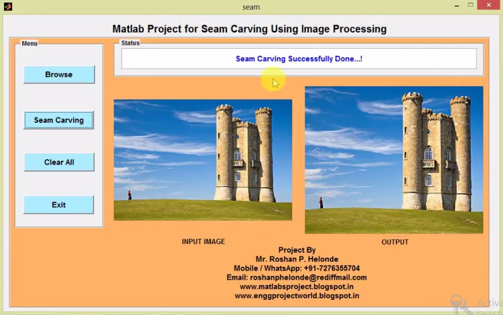 Seam Carving Using Image Processing Matlab Project with
