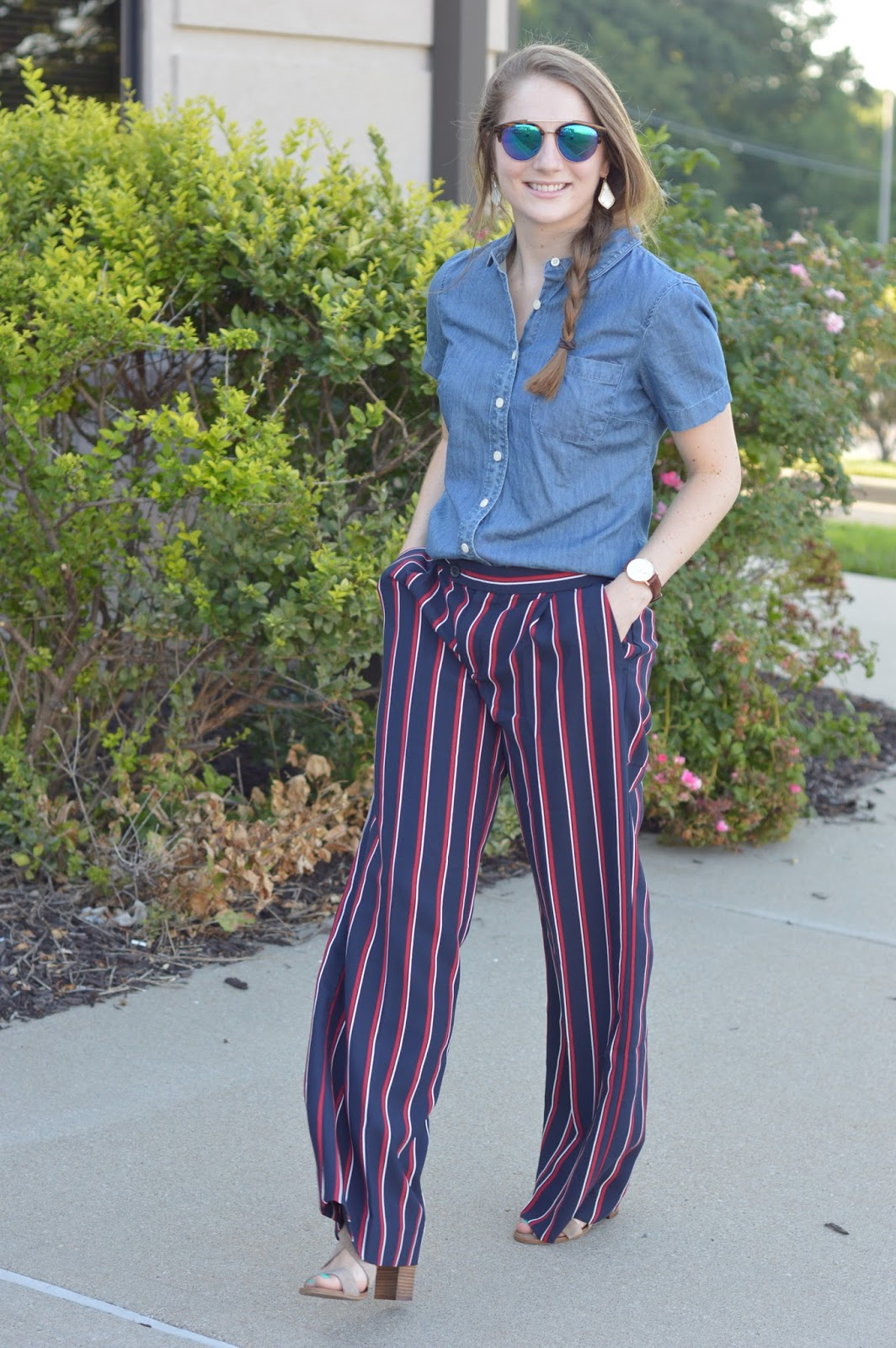 striped pants with a chambray top | what to pair with a chambray top | work outfit ideas | how to dress cute and still be professional for work | business casual dress code outfit ideas | a memory of us