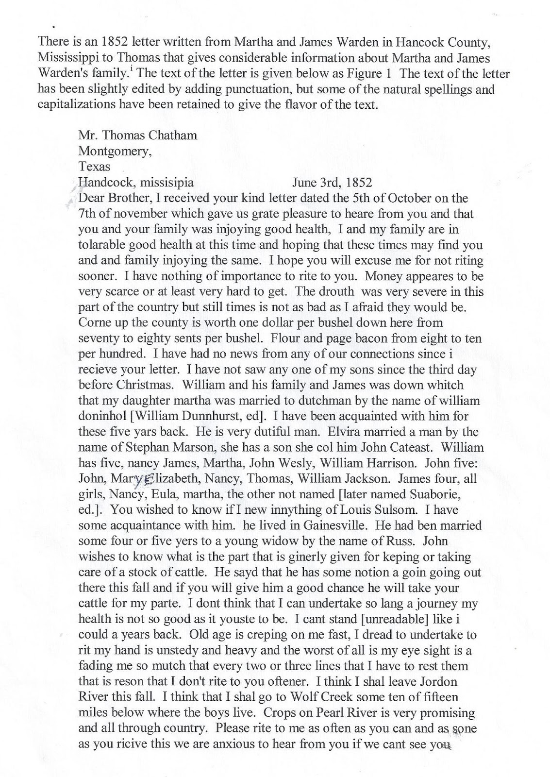 Mississippi washington county chatham -  Original Handwritten Letter From Martha Chatham Warden To Her Brother Thomas Chatham Who Resided In Montgomery Texas Click On Image To Enlarge It