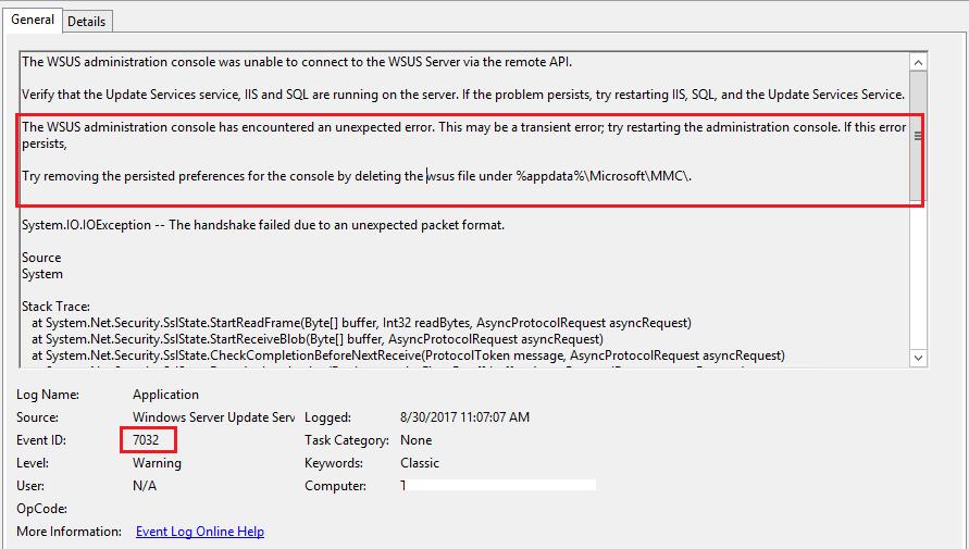 Techies Sphere: WSUS Server Console Error: Connection Error