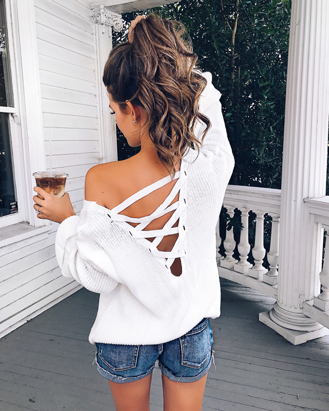 Topshop lattice back sweater