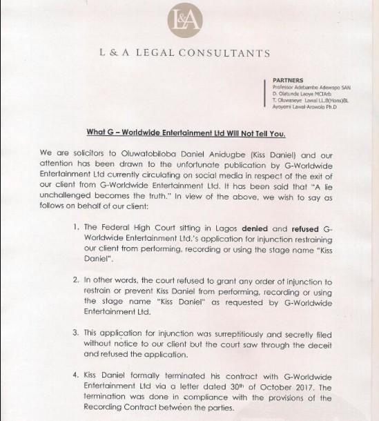 """Kiss Daniel's Lawyer Responds To G Worldwide Entertainment lawsuit @gmnaija.com"""