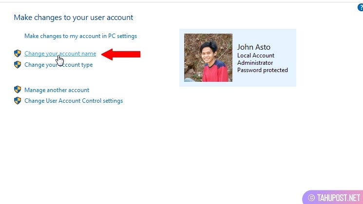 Jendela User Accounts - Cara Mengganti Nama Account di Laptop Windows 10