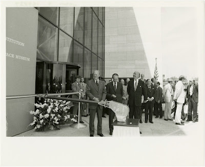 President Gerald R. Ford and NASM Director Michael Collins attend the ribbon cutting ceremony for the opening of National Air and Space Museum (NASM) building in Washington DC, on July 1, 1976.