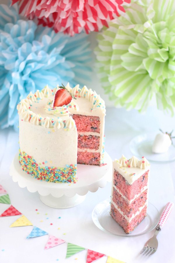 Vanilla Strawberry Layer Cake