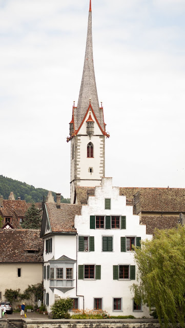 Church spire in Stein am Rhein, a town easily accessible by car from Zurich for a day trip