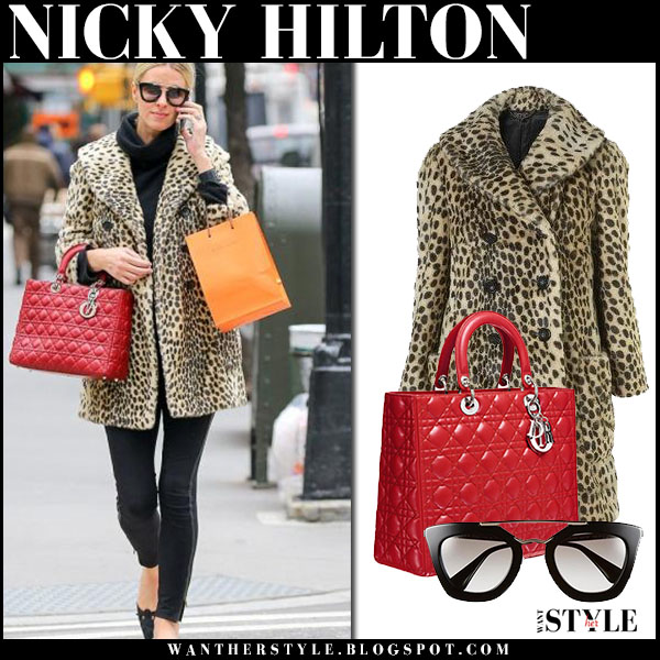 Nicky Hilton in leopard print topshop coat, black jeans and red quilted lady dior bag what she wore streetstyle