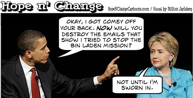 obama, obama jokes, political, humor, cartoon, conservative, hope n' change, hope and change, stilton jarlsberg, fbi, comey, hillary, doj, gross, bin laden, blackmail,