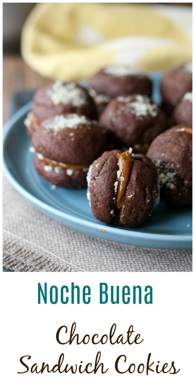 Noche Buena Chocolate Sandwich Cookies #cookies #chocolatecookies #nochebuenacookies