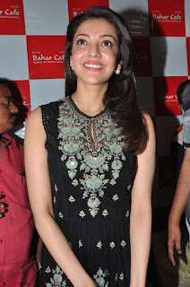 Kajal Aggarwal in lovely Black Sleeveless Anarlaki Dress in Hyderabad at Launch of Bahar Cafe at Madinaguda 022.JPG